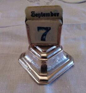 Antique English Sterling Silver Desk Calendar