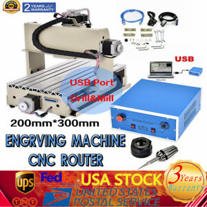 3axis 3020 Cnc Router Engraver Milling Drilling Desktop Cutter Machine 300w