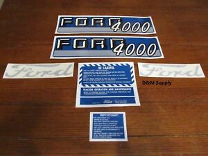 Ford Tractor Decal Set 4000 With Caution Stickers 1115 1548