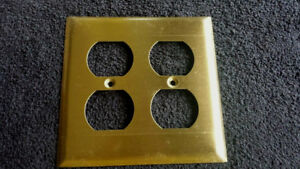 Vintage New Old Stock Shiny Brass Double Outlet Cover Plate W Screws