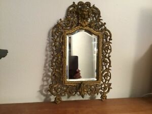 Antique Victorian Bacchus Gilt Metal Beveled Mirror Pre 1900