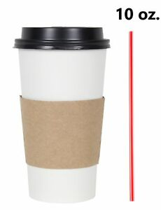 200 Set 10 Oz Disposable Hot Tea Paper Coffee Cups With Lids Sleeves Stirrers