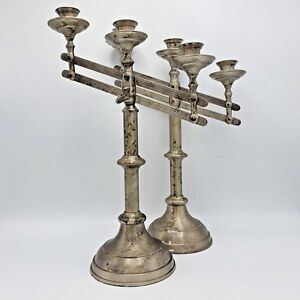 Unique Vintage Pair Of Adjustable 3 Arm Candelabras Made In India 15 Tall