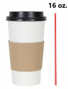 300 Set 16 Oz Disposable Hot Tea Paper Coffee Cups With Lids Sleeves Stirrers