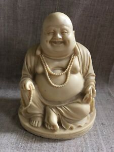 Antique Laughing Buddha Soapstone Limestone Carving Statue Large Made In Italy