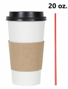 200 Set 20 Oz Disposable Hot Tea Paper Coffee Cups With Lids Sleeves Stirrers