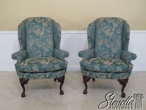 45227ec Pair Century Ball Claw Mahogany Wing Back Chairs
