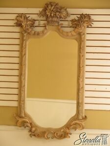 30143ec Outstanding Paint Decorated Cornucopia Basket Framed Mirror