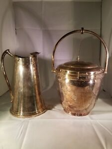 Sheffield Silverplate Ice Bucket W Hinged Lid Insulator Tongs And Pitcher