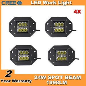 4x 5 24w Square Flush Mount Led Work Light Off road 4wd Suv Ute Lamp Fog Pods