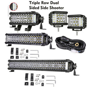 4 7 12 20 Side Shooter Led Work Light Bar Flood Spot Comobo Driving Suv Utv