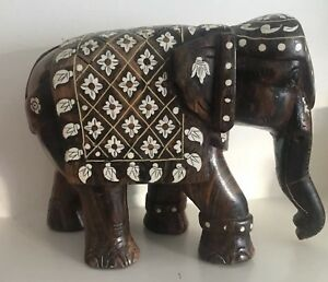 Antique Indian Wood Carved Bovine Bone Inlay Elephant 19th C