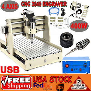 Usb 4 Axis Cnc 3040 Drilling Router Desktop Engraver Milling Machine 400w Vfd