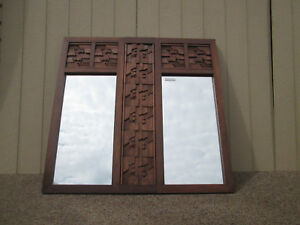 47871 Large Mid Century Modern Brutalist Oak Carved Wood Wall Mirror 53 X 51 H
