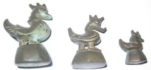 Set Of 3 Vintage Burma Chicken Opium Weights C 19th C Free Shipping Opw2