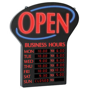 Newon Led Open Sign With Lit Digital Business Hours