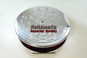 Rat Rod 14x3 Flamed Polished Air Cleaner Chevy Ford Chrysler