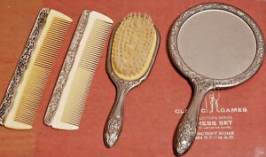 4 Piece Silver Plated Dresser Set Vintage Mirror Brush Comb