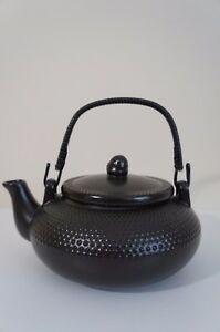 New Contemporary Sleek Japanese Style Ceramic Pebble Black Teapot Kettle