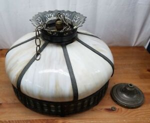Antique Slag Glass Hanging Lamp Light Tiffany Style Marbled White Circular Round