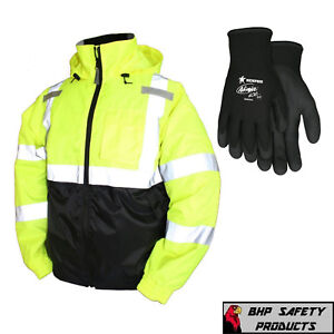 Hi vis Insulated Safety Bomber Reflective Jacket With Winter Weather Work Gloves
