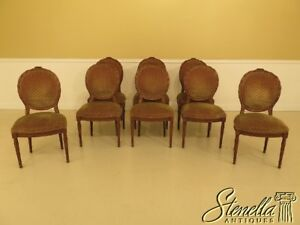 L29784ec Set Of 8 French Louis Xv Carved Walnut Dining Room Chairs