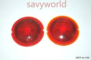 Old Red Glass Lens Tail Stop Light Cover Vintage Old Antique Ls 370 3 5 Inches