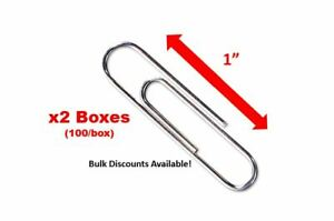 2 Pack X 1 Paper Clips 25mm No 1 Size 100 box Silver Bulk Discounts