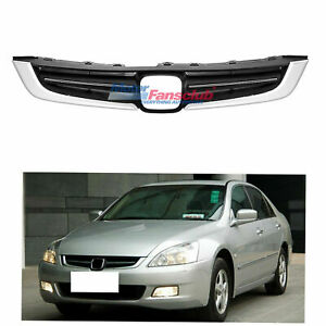 For Honda Accord 7th 2005 2006 2007 Black Chrome Front Bumper Upper Grill Grille