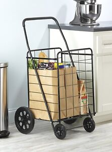 Large Utility Cart Black Steel Rolling Hauling Grocery Laundry Basket Portable