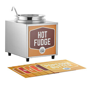 3 5 Qt 10 Can Warmer Hot Fudge Chili Nacho Cheese Commercial Dispenser W Ladle