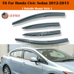 Fit For Honda Civic Sedan 2012 2013 2014 2015 Rain Guard Window Visor Deflector