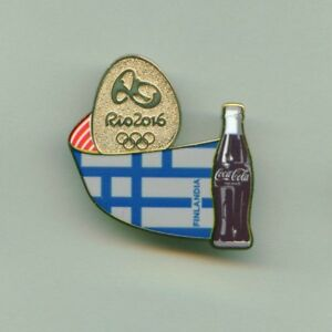 Coca Cola Rio 2016 Olympic Games Sponsor Pin Finland Stylized Flag
