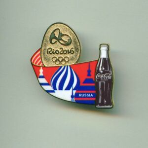 Coca Cola Rio 2016 Olympic Games Sponsor Pin Russia Stylized Flag