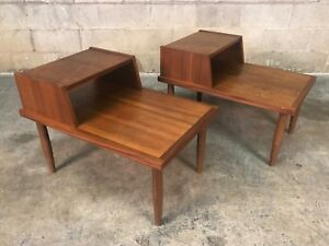 Mid Century Modern Walnut 2 Tier End Table Nightstand A Pair