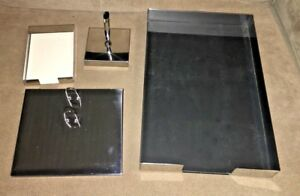 Vintage Duk it Chrome Office Desk Set paper Tray note Pad pen calendar buffalo