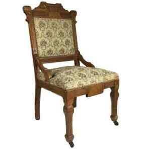 Antique Eastlake Side Dining Accent Chair W Floral Upholstery Hand Carved