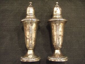 Empire Sterling Silver Weighted 241 Vintage Salt And Pepper Shakers Set