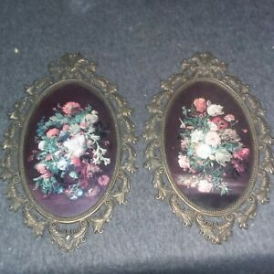 2 Vintage Lr Metal Picture Frames Oval Red Backing With Flowers Rare