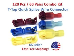 120pc Insulated 22 10 Awg T taps Quick Splice Wire Terminal Connectors Combo Kit