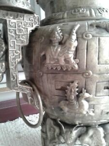 Very Very Old Large Chinese Temple Incemse Burner Elephants Plus Jade 2 Ft Tall