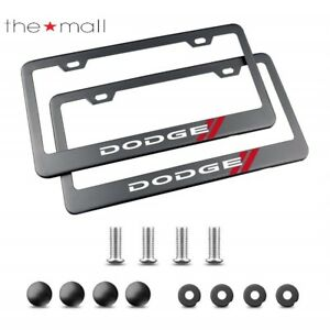 License Plate Frame For Dodge With Screw Caps Cover Set Black 2 Pieces