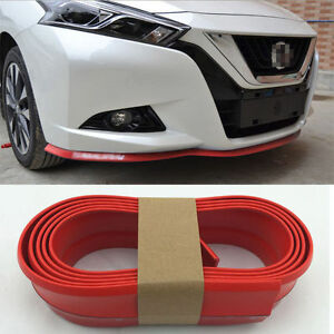 2 5m Red Car Front Bumper Lip Side Skirts Spoiler Door Protector Rubber Cover