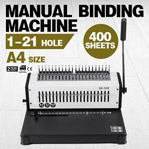 Adjustable Manual 1 21 Hole 400 Sheets Paper Comb Punch Binder Binding Machine