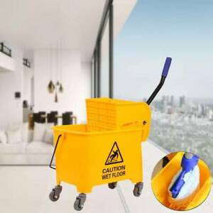 Commercial 20l Wet Mop Bucket Removable Wringer Combo Yellow Side Press