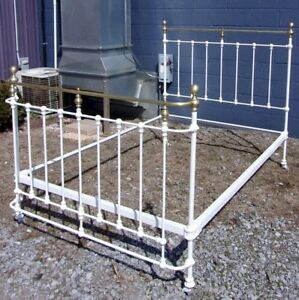 Antique Brass Iron Bed Curved Footboard Selling Out