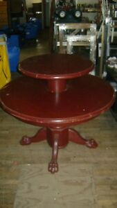 Retail Round Two Tier Claw Foot Table Brown Display Merchansier Table