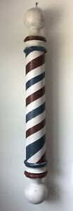 Wooden Barber Pole Reproduction Hand Turned From Antique Barn Wood
