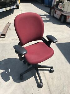 Steelcase Leap Task Chair Burgundy Cluster Of 4 local Pick Up Only
