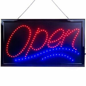 Large Led Open Sign For Business Displays Jumbo Light Up Sign Open With 2 Modes